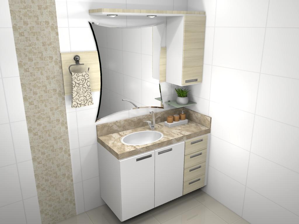 Banheiro  Móveis Cujinotti -> Armario De Banheiro Branco E Preto